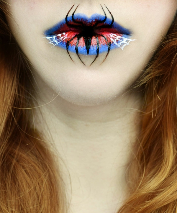 halloween schminke lippen spinne