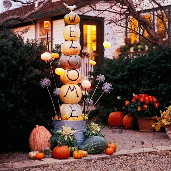 halloween kürbis basteln originelle deko ideen willkommen heißen