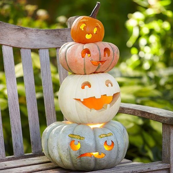 halloween kürbis schnitzen halloween kürbis vorlagen gesicht basteln ideen