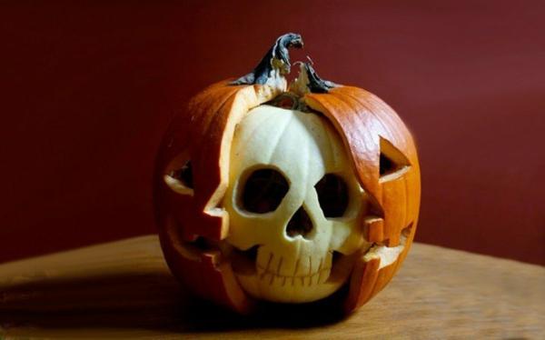 halloween kürbis schnitzen vorlagen kürbis gesicht basteln totenkopf