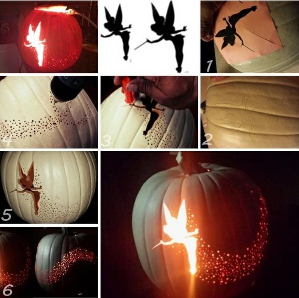 halloween kürbis schnitzvorlagen fee halloween kürbis aushöhlen schnitzen