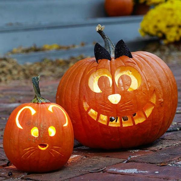 halloween kürbis schnitzvorlagen halloween kürbis gesicht katze und maus