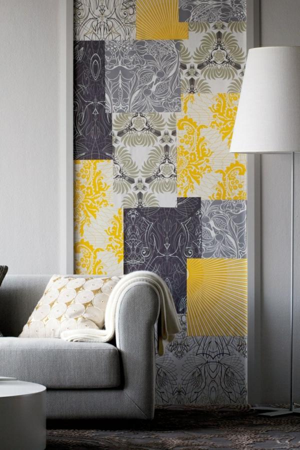 eine gelbe tapete im schlaf oder wohnzimmer wirkt sehr. Black Bedroom Furniture Sets. Home Design Ideas