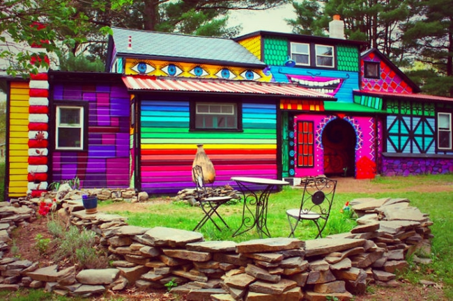 hausfassade gestalten hausfassaden farbgestaltung regenbogenfarben