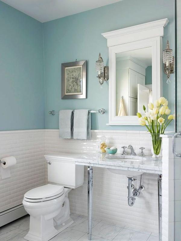 helle wandfarbe badezimmer pastelltöne mintgrün wandfliesen weiß