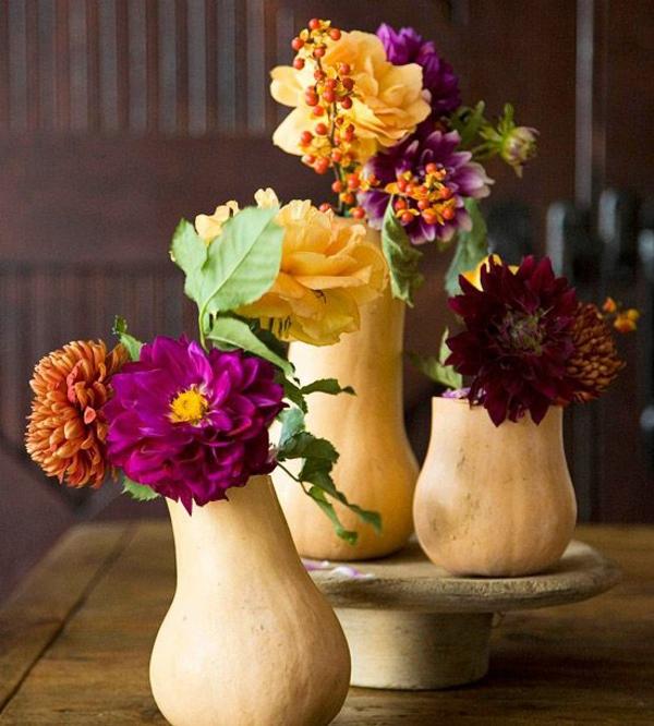 herbstblumen pflanzen herbst garten kürbiss vasen bastelideen