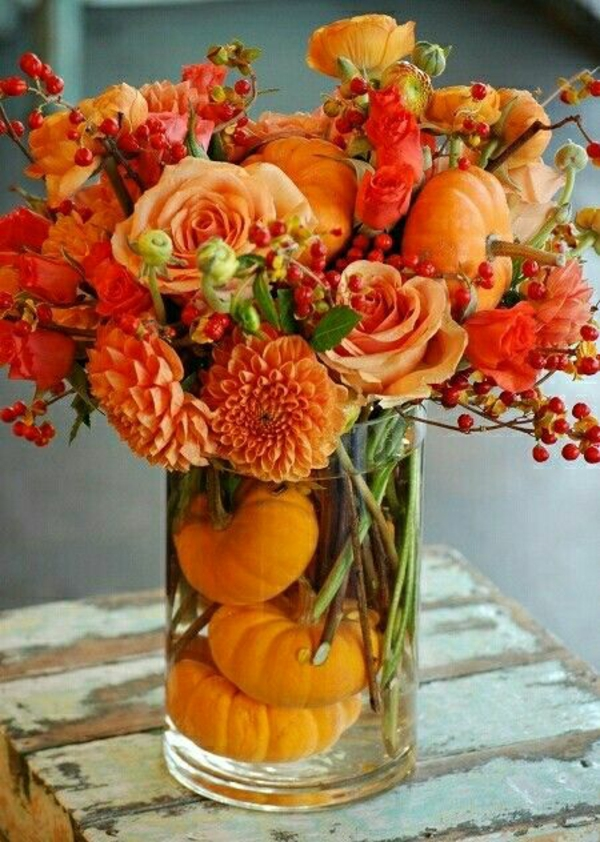herbstblumen pflanzen herbstdeko tischdeko ideen kürbis