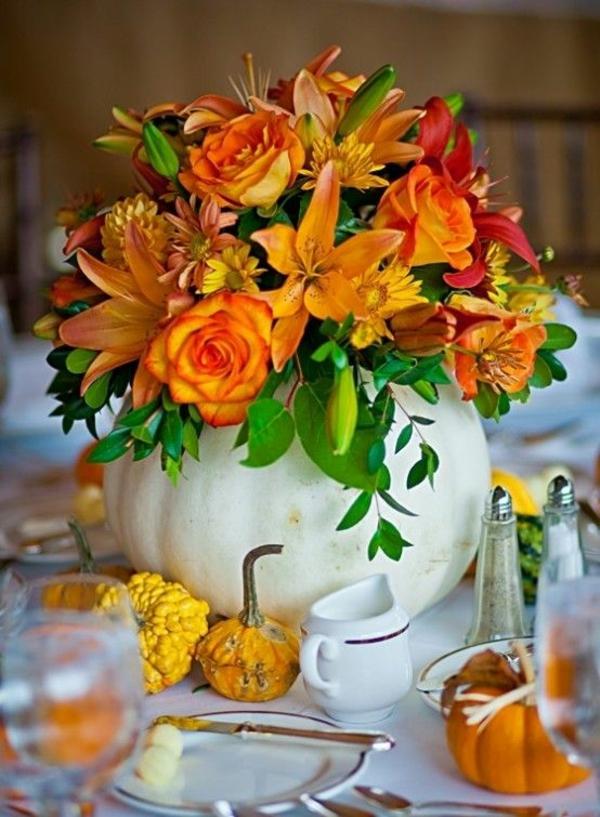 herbstblumen pflanzen herbstobst kürbisse tischdeko ideen basteln