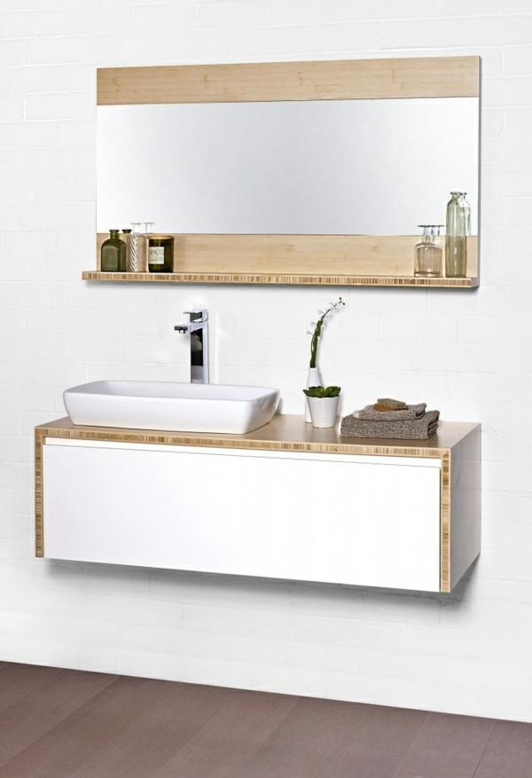holz badmöbel badeinrichtung asiatischer stil waschbecken unterschrank wandregal