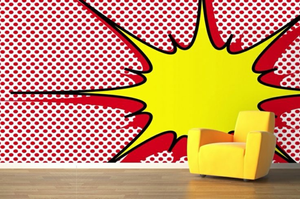 Ideen Wohnzimmer Wandgestaltung Tapetenmuster Pop Art Wandtapeten