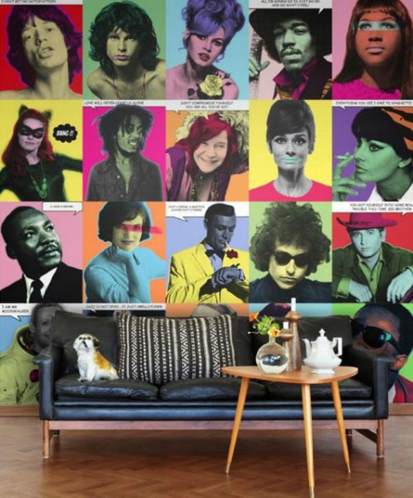 ideen wohnzimmer wandgestaltung tapetenmuster popart kunst