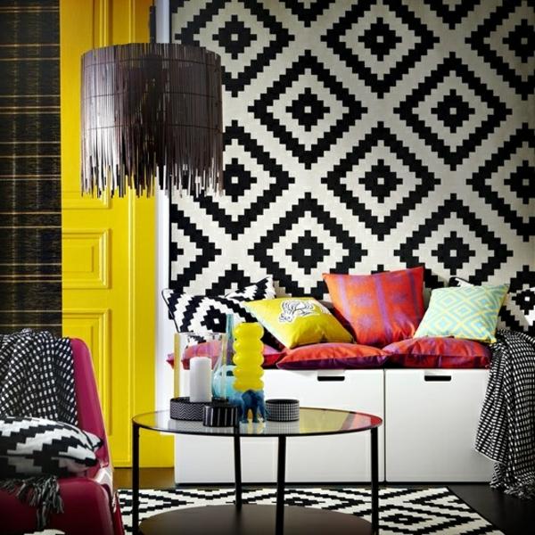 ideen wohnzimmer wandgestaltung tiermuster schwarz weiß geometrisch
