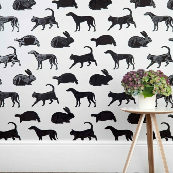 wohnzimmer wandgestaltung ideen - coole beispiele für tapetenmuster - Ideen Fur Wohnzimmer Wandgestaltung