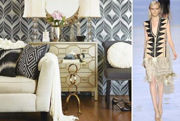 ideen wohnzimmer wandgestaltung trendige tapetenmuster modetrends