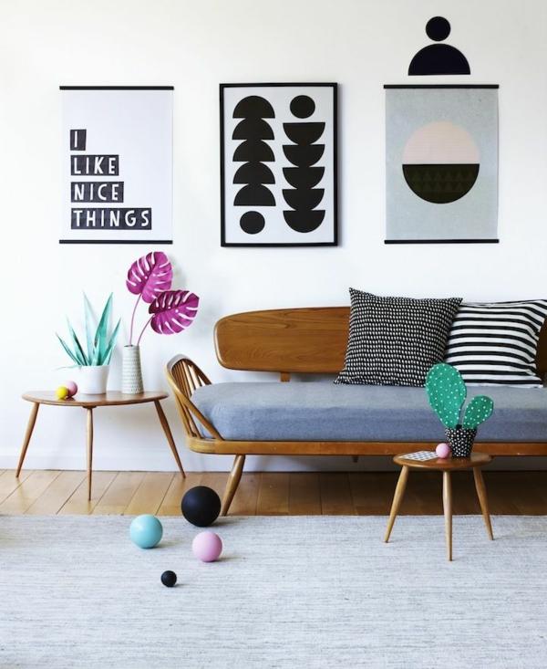 wohnzimmer wände farbig gestalten:ideen zur wandgestaltung mit ...