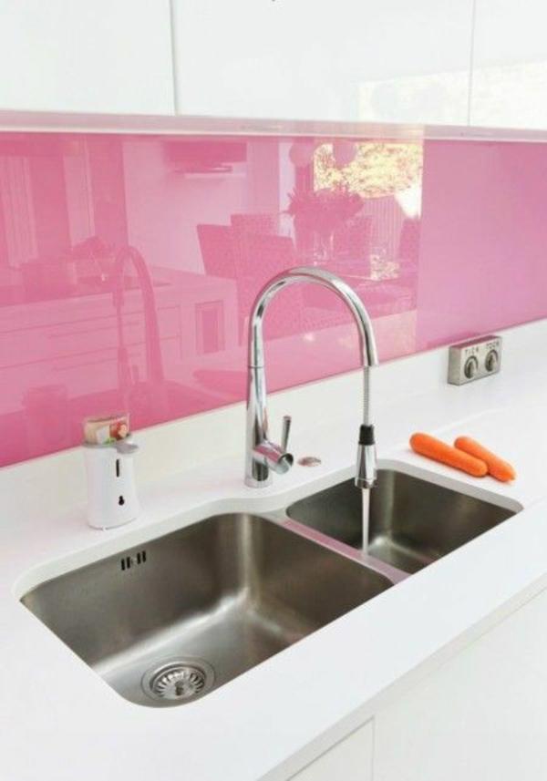 küchenrückwände fliesenspiegel glas rasa pink spritzschutz küche