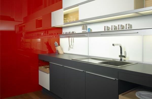 küchenrückwände fliesenspiegel glaswand küche rot spritzschutz küche