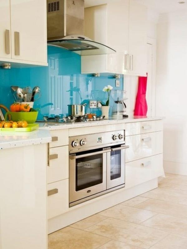 küchenrückwand aus glas küchenrückwand plexiglas blau moderne küche