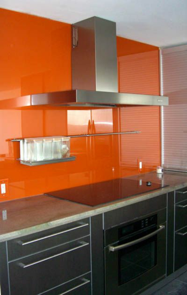 küchenrückwand glas küchenrückwand plexiglas orange glaswand küche