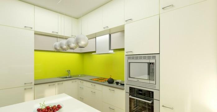 küchenrückwand grün plexiglas fliesenspiegel leuchtend