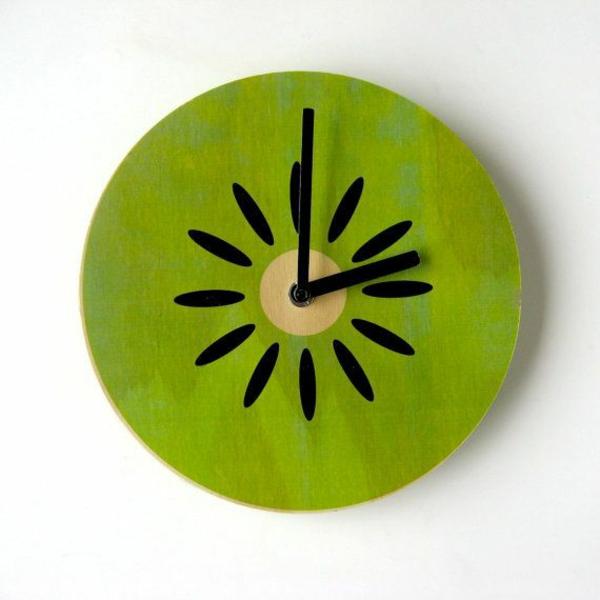 küchenuhr design kiwi obst zifferblatt moderne wanduhren