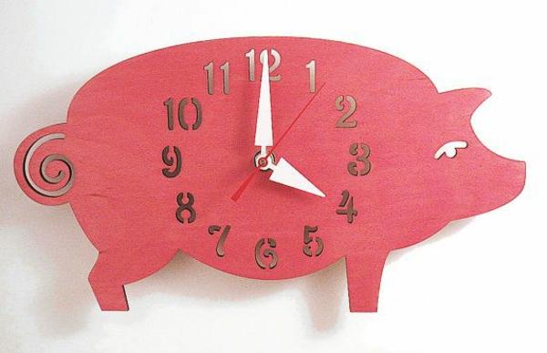 küchenuhr design schweinchen ferkel zifferblatt wanduhren