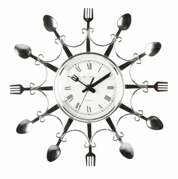 küchenuhren design moderne wanduhren wanddeko löffel gabel edelstahl