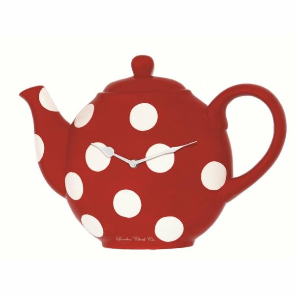 küchenuhren design teekanne rot weißes pünktchenmuster vintage deko ideen