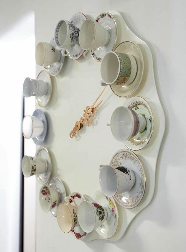 küchenuhren design teetassen zifferblatt wanduhren