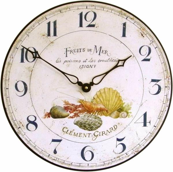küchenuhren design vintage wanduhren wanddeko ideen meeresfrüchte