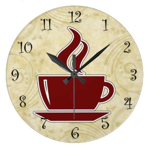küchenuhren modern vintage wanduhren wanddeko ideen morgenkaffee trinken