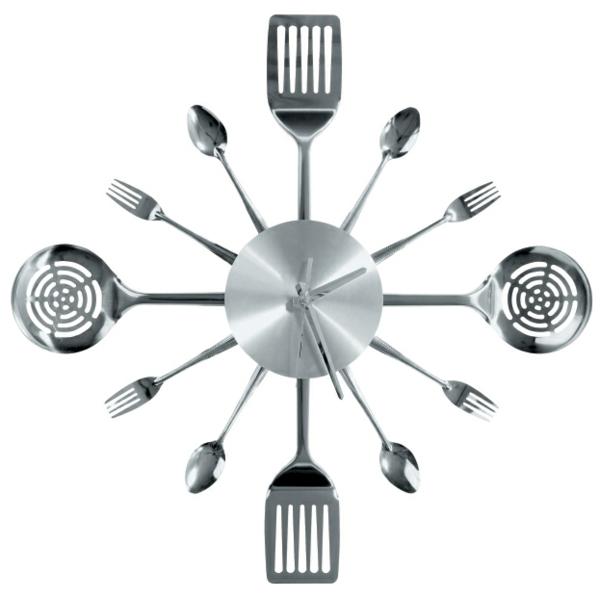 küchenuhren modern wanduhren wanddeko löffel gabel edelstahl