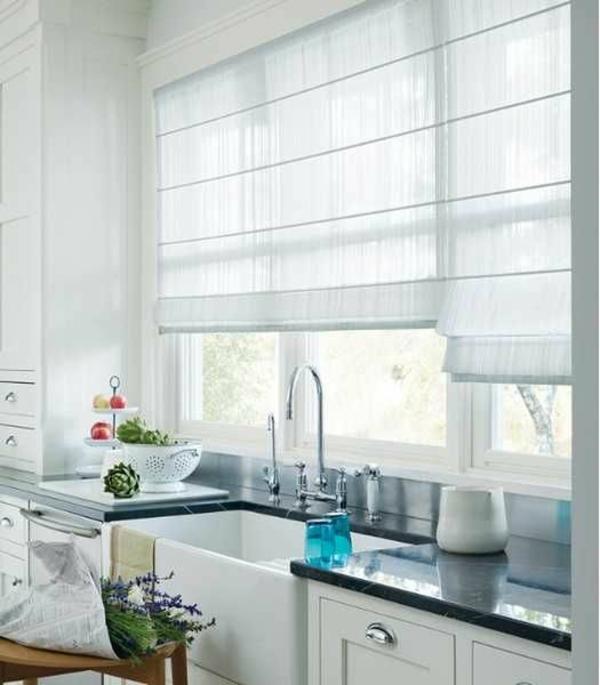 küchenvorhänge gardinen ideen raffrollo selber nähen faltrollo anleitung vorhänge