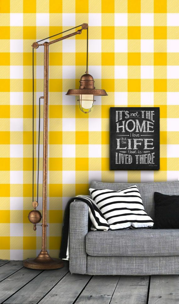 karromuster gelbe tepeten mustertapeten wohnzimmer wandgestaltung