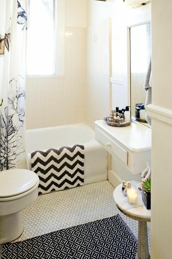 kleines bad badmatten badteppiche badvorleger set schwarz weiß muster