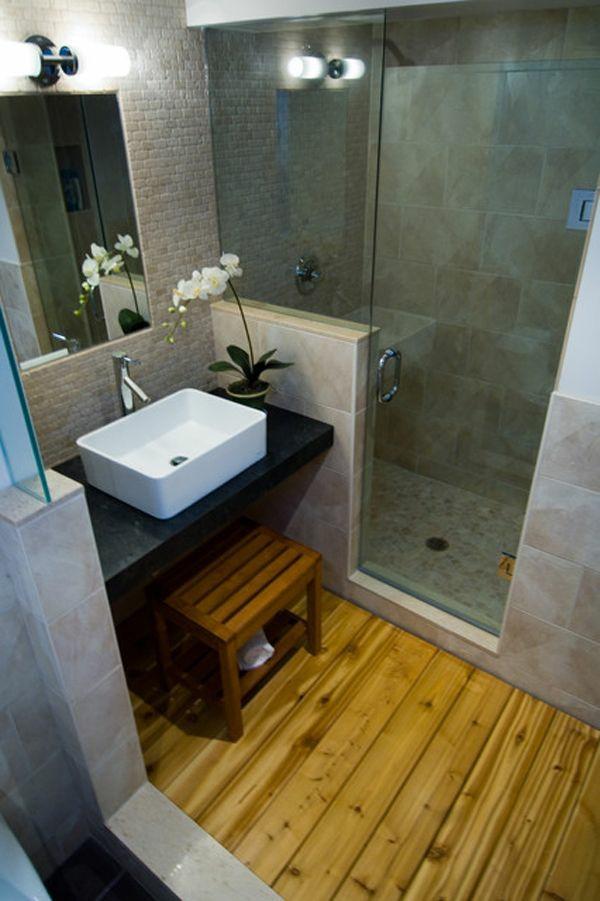Kleine Badezimmer Einrichten Dusche Glastüren Holzboden Badgestaltung Kleines  Bad