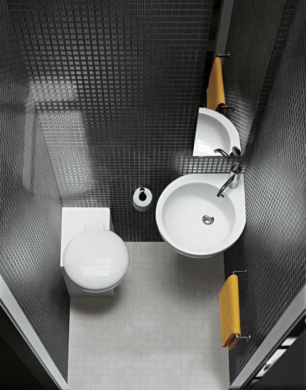 kleines bad ereinrichten waschbecken rund toilette badezimmer fliesen