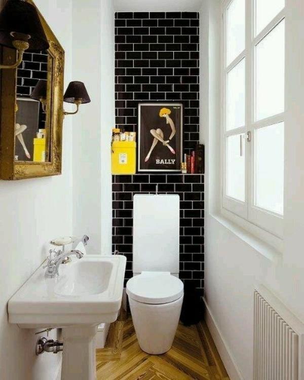 kleines bad ereinrichten waschbecken toilette retro stil fliesen wandgestaltung