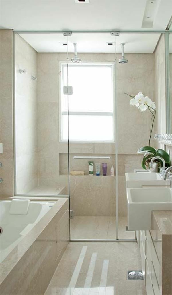 Kleines Badezimmer Fliesen Einbauwanne Bodengleiche Dusche Badgestaltung  Moderne Badezimmer