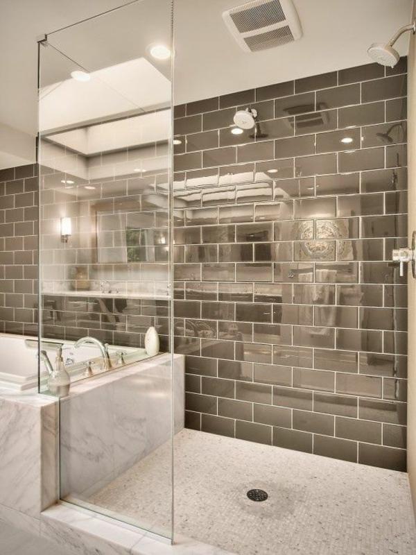 Kleines Bad Fliesen Ideen Dusche Badewanne Mosaikfliesen Boden Wandfliesen