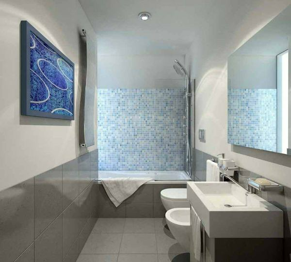kleines bad fliesen mosaikfliesen dusche badewanne badmöbel