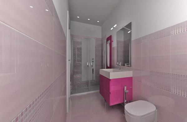 kleines bad fliesen rosa duschkabine glas badmöbel pink frauenbadezimmer