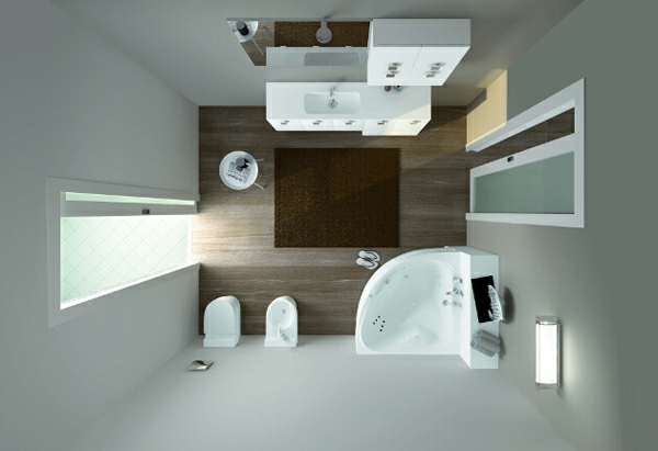 kleines bad gestalten holzboden fertigduschkabinen moderne badmöbel