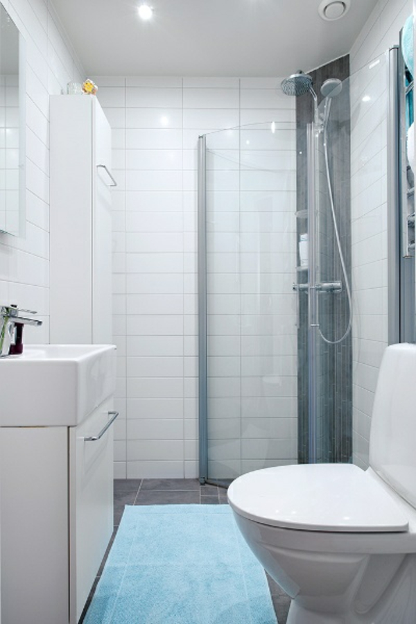 kleines bad gestalten kompakte duschkabine glas badmöbel
