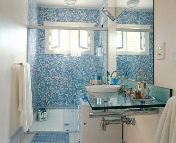 kleines bad ideen waschbecken schrank kleines bad fliesen blau weiß
