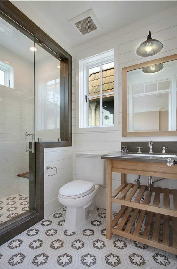 Klein Bad Ideen Waschbecken Unterschrank Holz Dusche