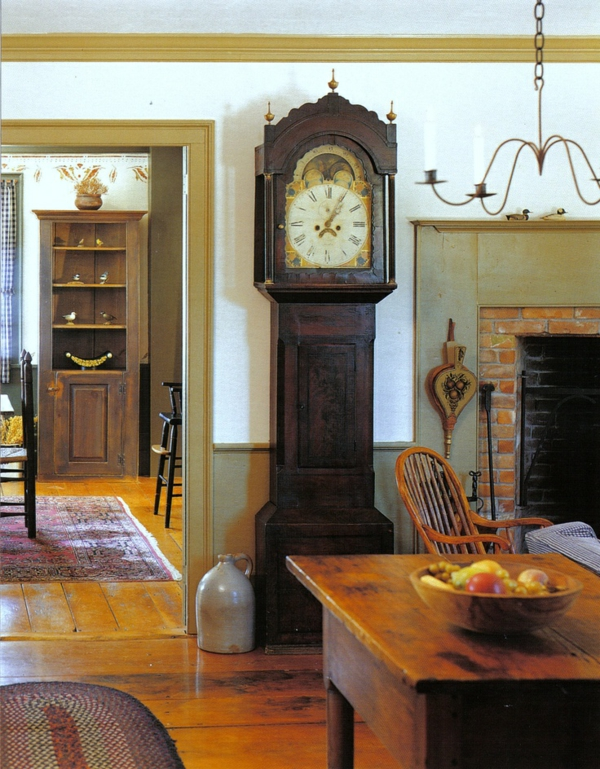 kolonialmöbel einrichtung wohnzimmer standuhr holz kolonialstil