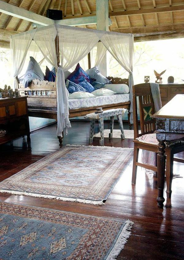 kolonialmöbel schlafzimmer ideen bett holz