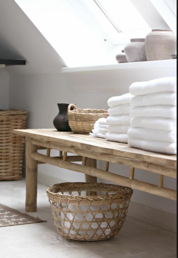korbkisten bank bambus badmöbel asiatischer stil