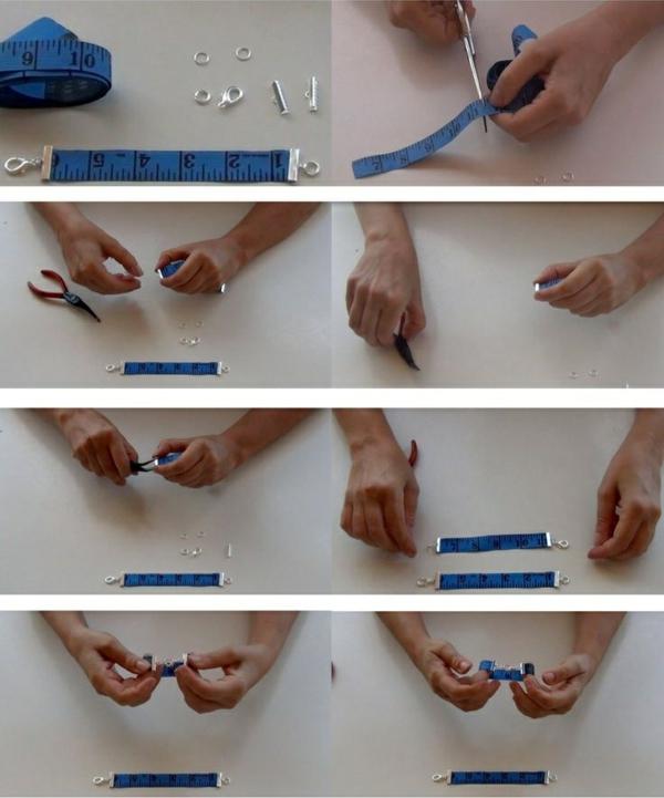 kreatibe wohnideen maßband armband diy schmuck bastelideen